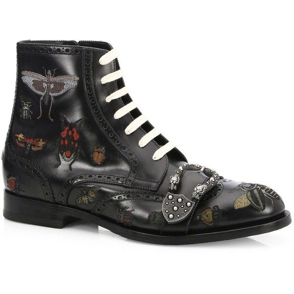 a45d3d4fa Gucci Queercore Insects Leather Boots ($1,980) ❤ liked on Polyvore  featuring men's fashion,