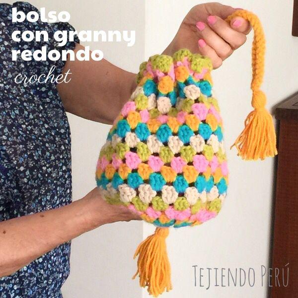 bolso con granny redondo tejido a crochet paso a paso