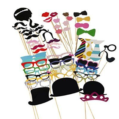 Tinksky Photo Booth Props 58 piece DIY Kit for Wedding Party Reunions Birthdays Photobooth Dress-up Accessories & Party Favors, Costumes with Mustache on a stick, Hats, Glasses, Mouth, Bowler, Bowties