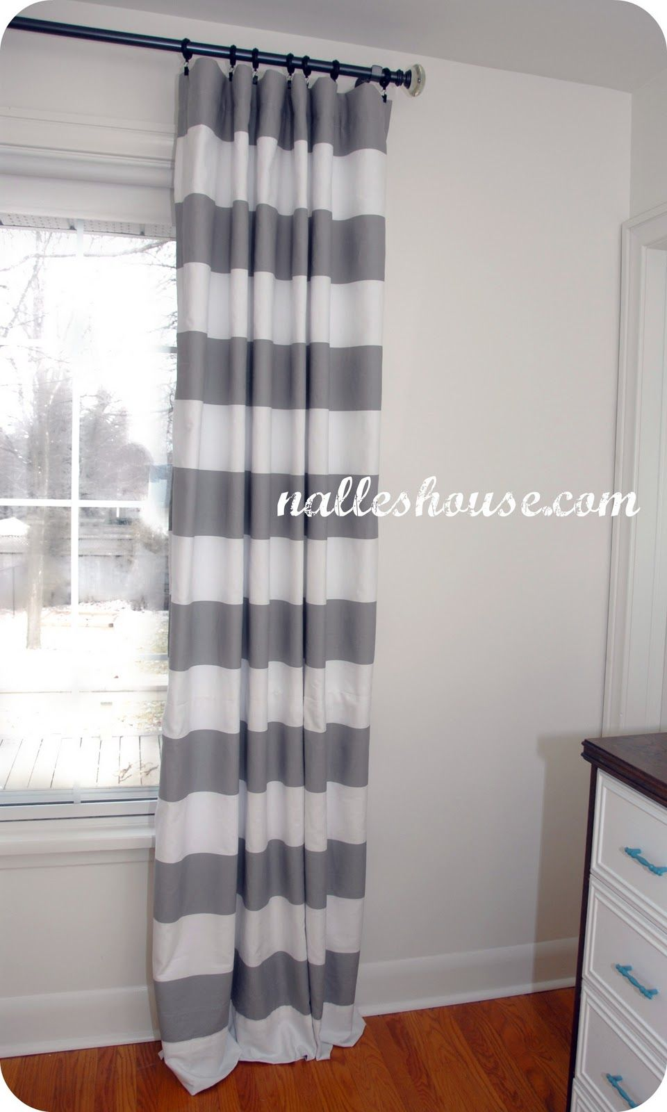Grey u white stripped curtains to cover the pantry decor