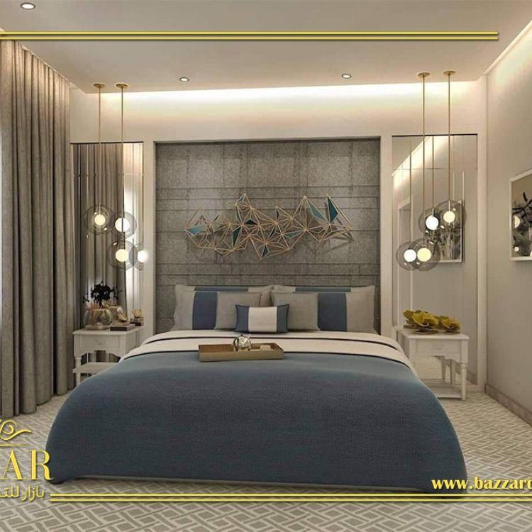 غرفة نوم مودرن جمعت بين البساطة والجمال في كل تفاصيل تصميمها بداية من الالوان الي الاكس Apartment Bedroom Decor Luxury Bedroom Master Master Bedroom Interior