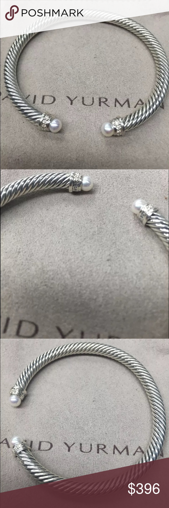 David Yurman Pearl Diamond 5mm Silver Bracelet David Yurman Pearl