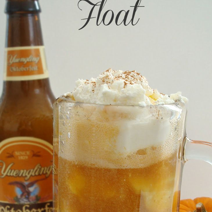 Pumpkin Oktoberfest Float Recipe Beverages with pumpkin purée, sugar, water, beer, vanilla ice cream, heavy whipping cream, powdered sugar