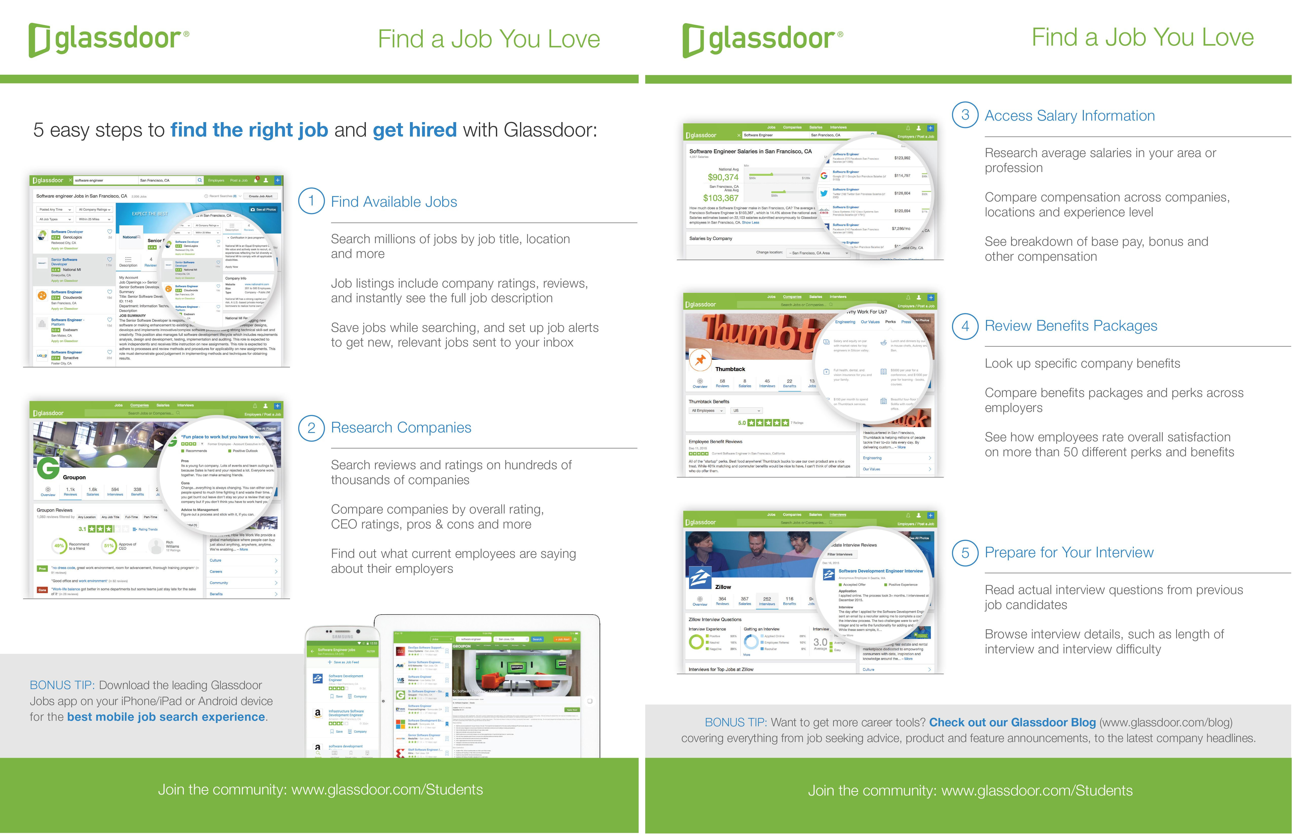 """""""Glassdoor has over 10 million Company Reviews, Salary Information and Interview Insights paired with Jobs to help you find the company and the job that you love"""""""