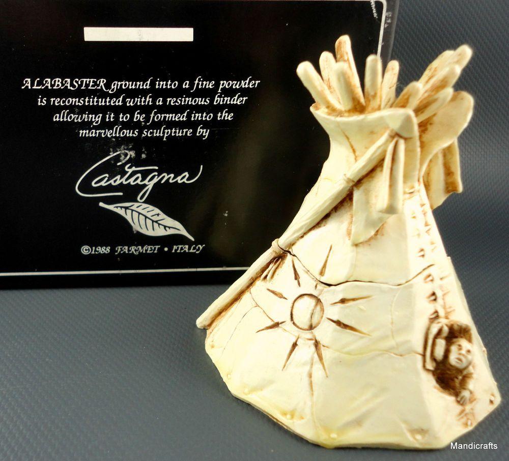 #Castagna Italy TeePee Treasure Box Figurine Native Indian Alabaster 1998 Repro