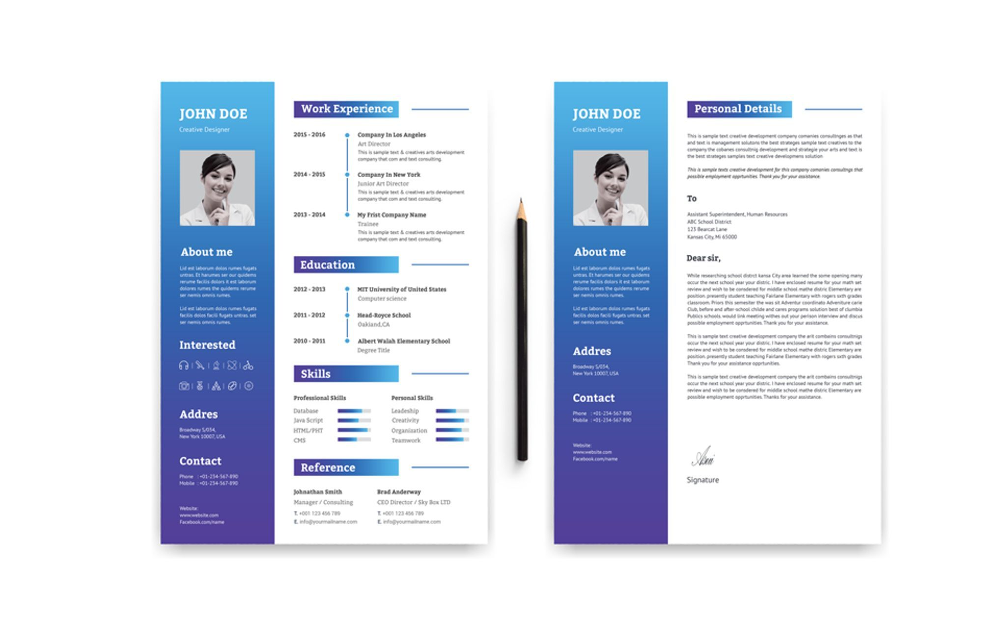 2 Pages Modern Resume Template 67396 Modern resume