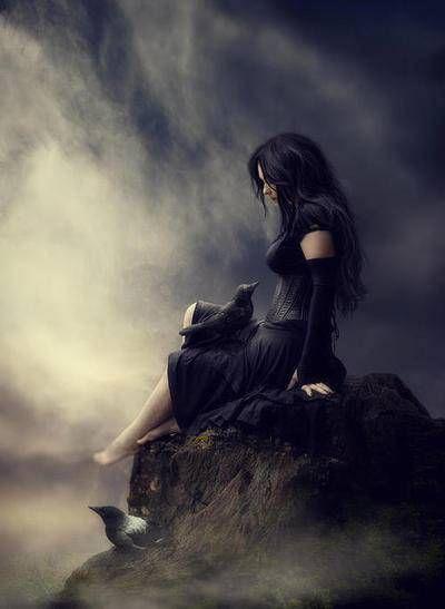 cda36632 raven, girl, mist