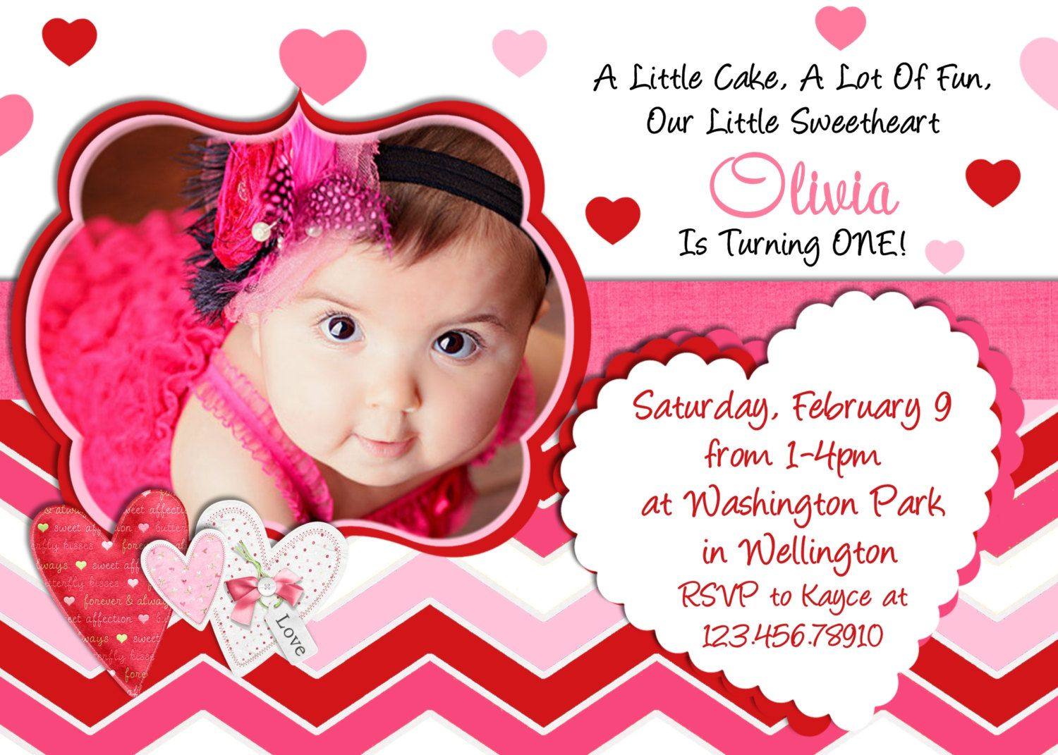Valentine Birthday Invitation Photo Card Design Printable And