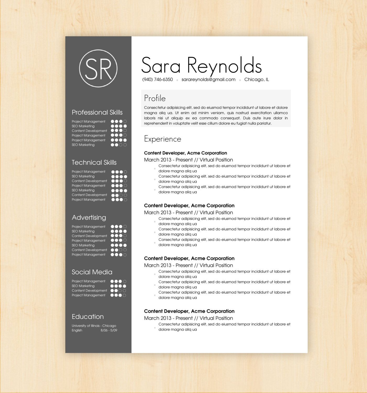 resume template cover letter template the sara reynolds resume resume template cv template the sara reynolds by phdpress 16 00