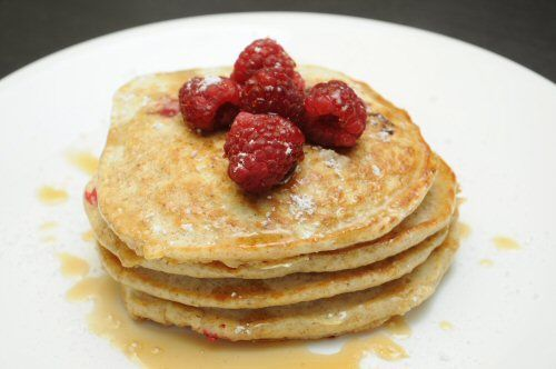 Raspberry Buttermilk Pancakes via MrsJanuary.com #recipes #breakfast