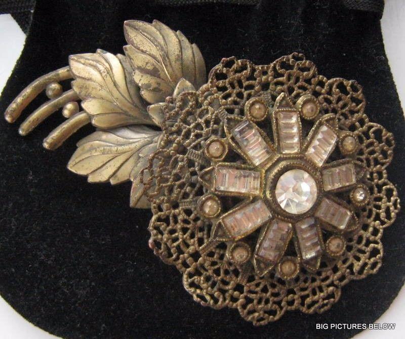 Vtg ANTIQUE Art Deco or Victorian Brooch Pin Clear Crystal Rhinestone Flower