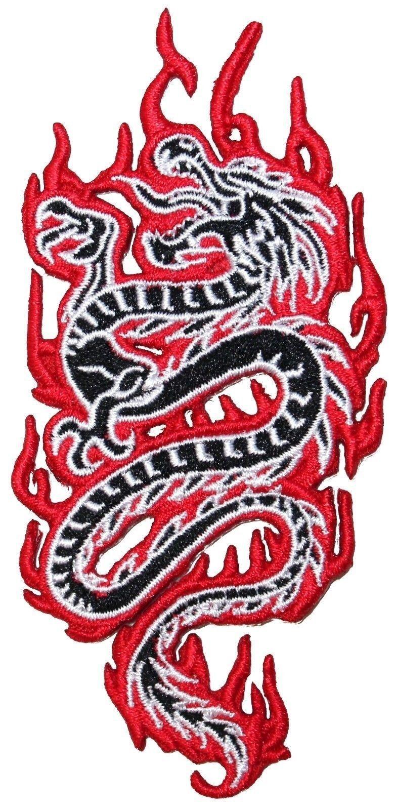 Iron on Applique//Embroidered Patch Small Chinese Dragon Facing LEFT Red//Black