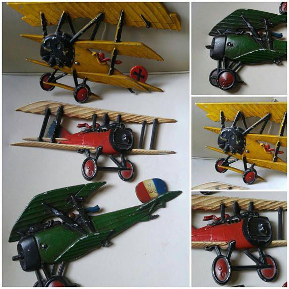 Vintage 1975 Homco Metal Airplanes Wall Decor Set Of 3