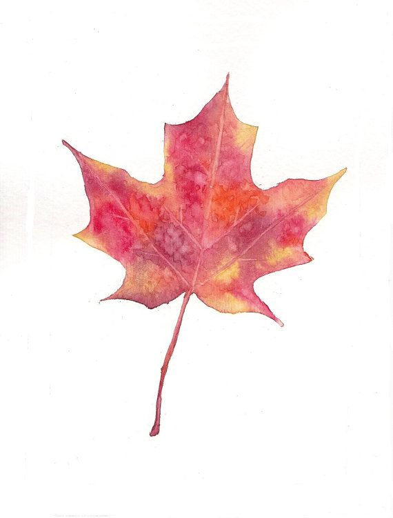 Bright Red Orange Yellow Maple Leaf 5x7 Print Watercolor