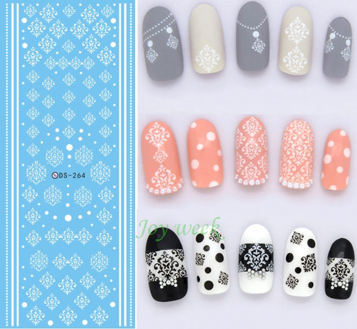 Water sticker for nail art all decorations sliders white lace ...