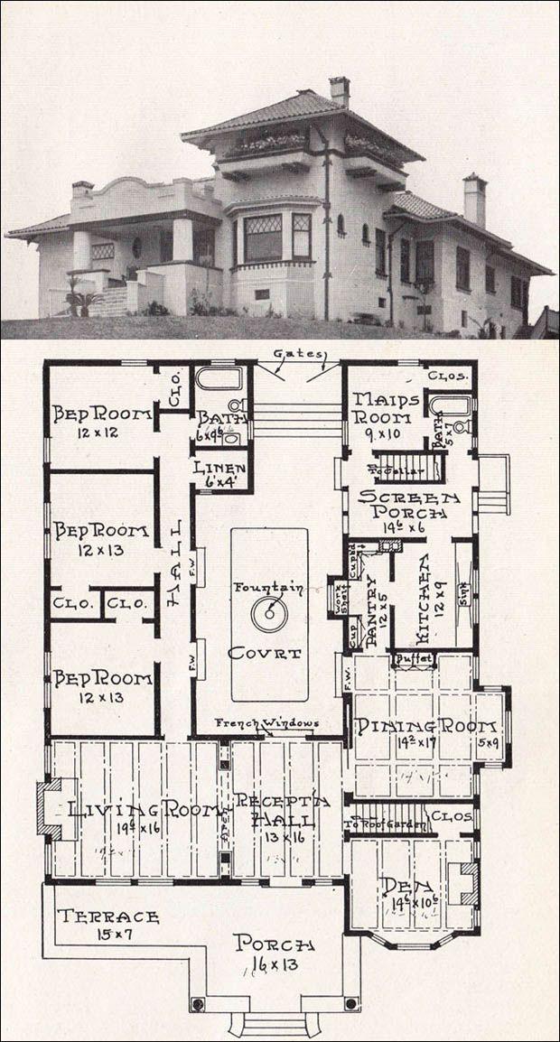 Vintage House Plan 1918 Representative California Homes