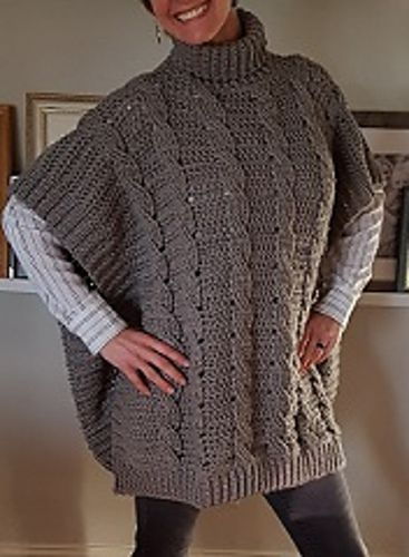 Crocheted Cabled Poncho Pattern By Karen L Spaeth Diva Crochet