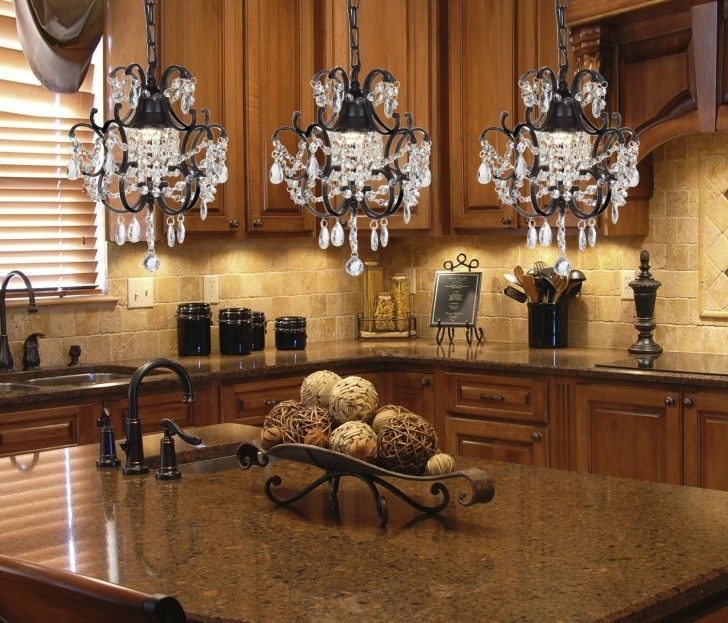 Luxurious Three Crystal Chandelier Pendant Lights Over Kitchen - Single light over kitchen island