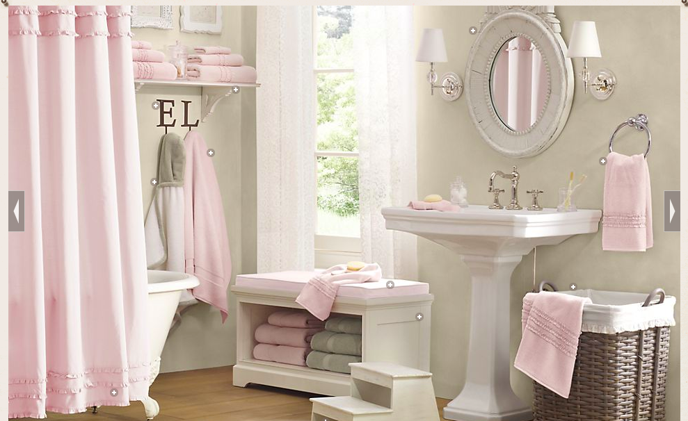 Maybe taupe walls with white shower curtain and pink pattern rugs ...