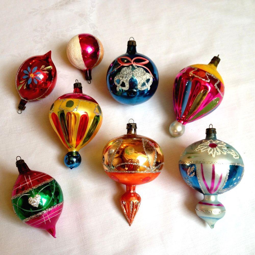 Vintage Poland Mercury Glass Hand Painted Glitter Christmas Tree Ornaments Cool Christmas Trees Vintage Christmas Ornaments Mercury Glass Christmas Ornaments