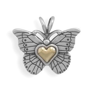 ApplesofGold.com - Heart of Gold Sterling Silver Butterfly Pendant, $59