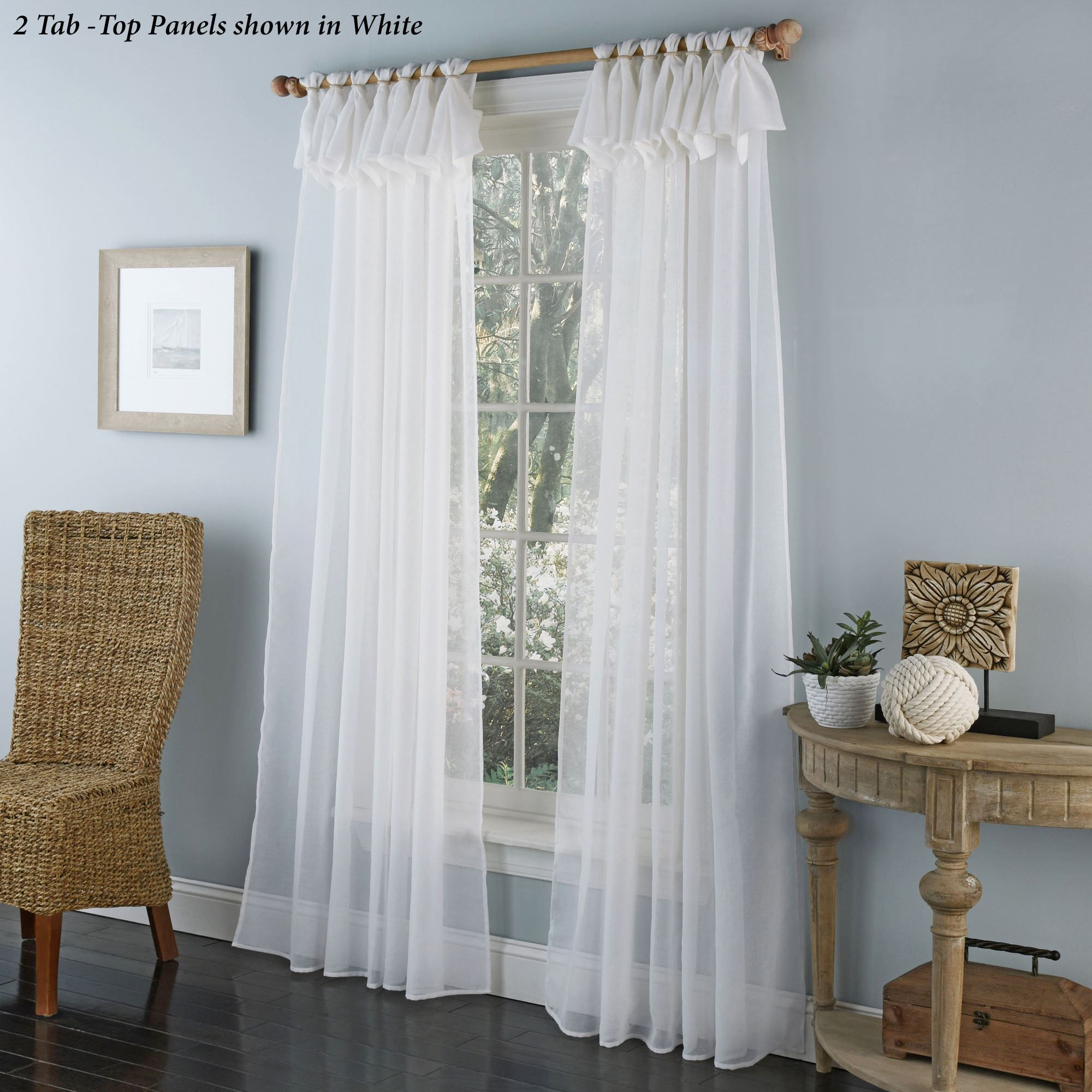 Thalia Semi Sheer Tab Top Curtain Panel Panel Curtains White