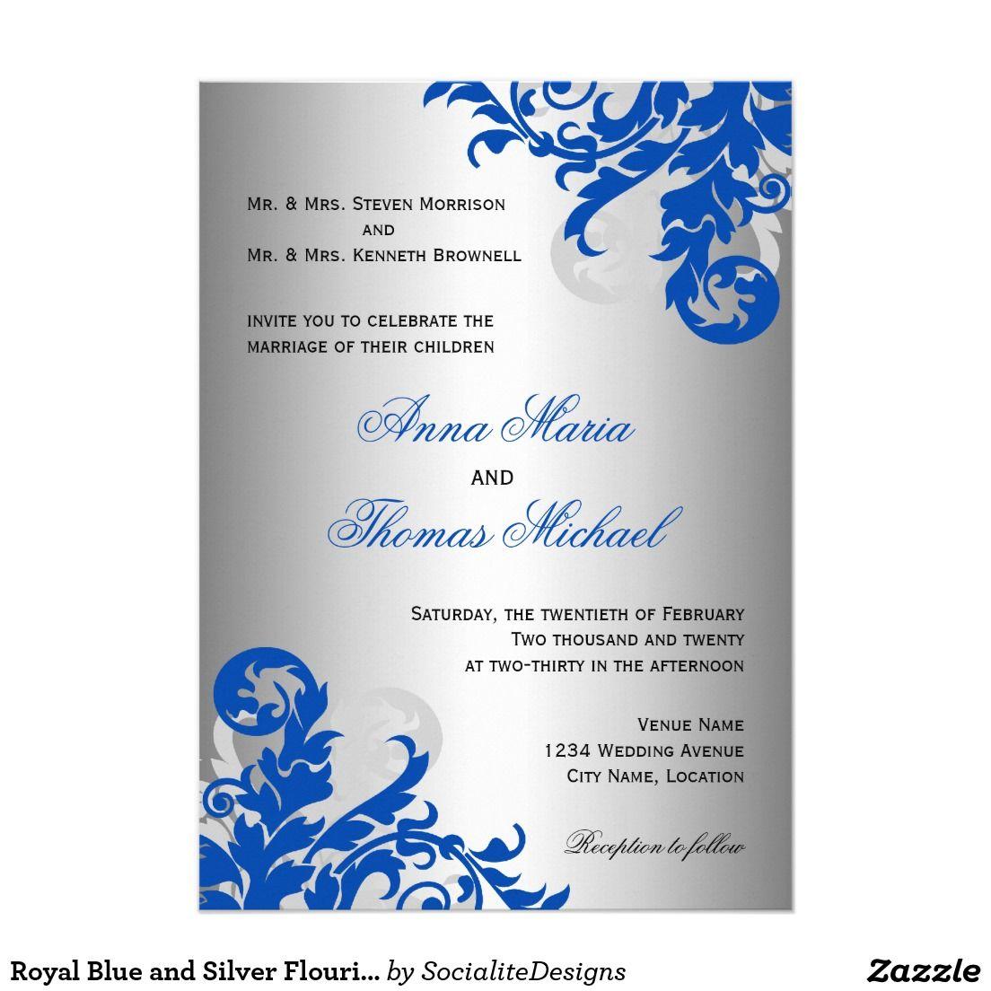 Royal Blue and Silver Flourish Wedding 5x7 Paper Invitation Card ...