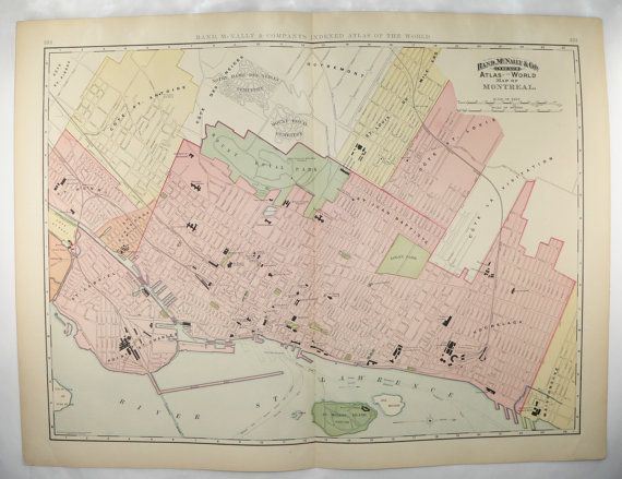 Very Large Map Montreal Canada Map 1898 Vintage Montreal City