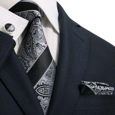$ 44.99 | Black and Grey Paisley Toramon Silk Tie Set JPM52W – Toramon Necktie Company