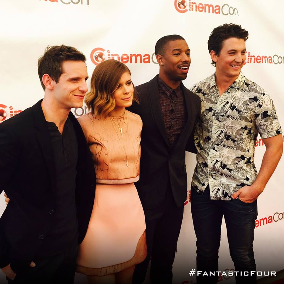 Fantastic Four's Jamie Bell, Kate Mara, Michael B Jordan, and Miles Teller gather on the CinemaCon red carpet