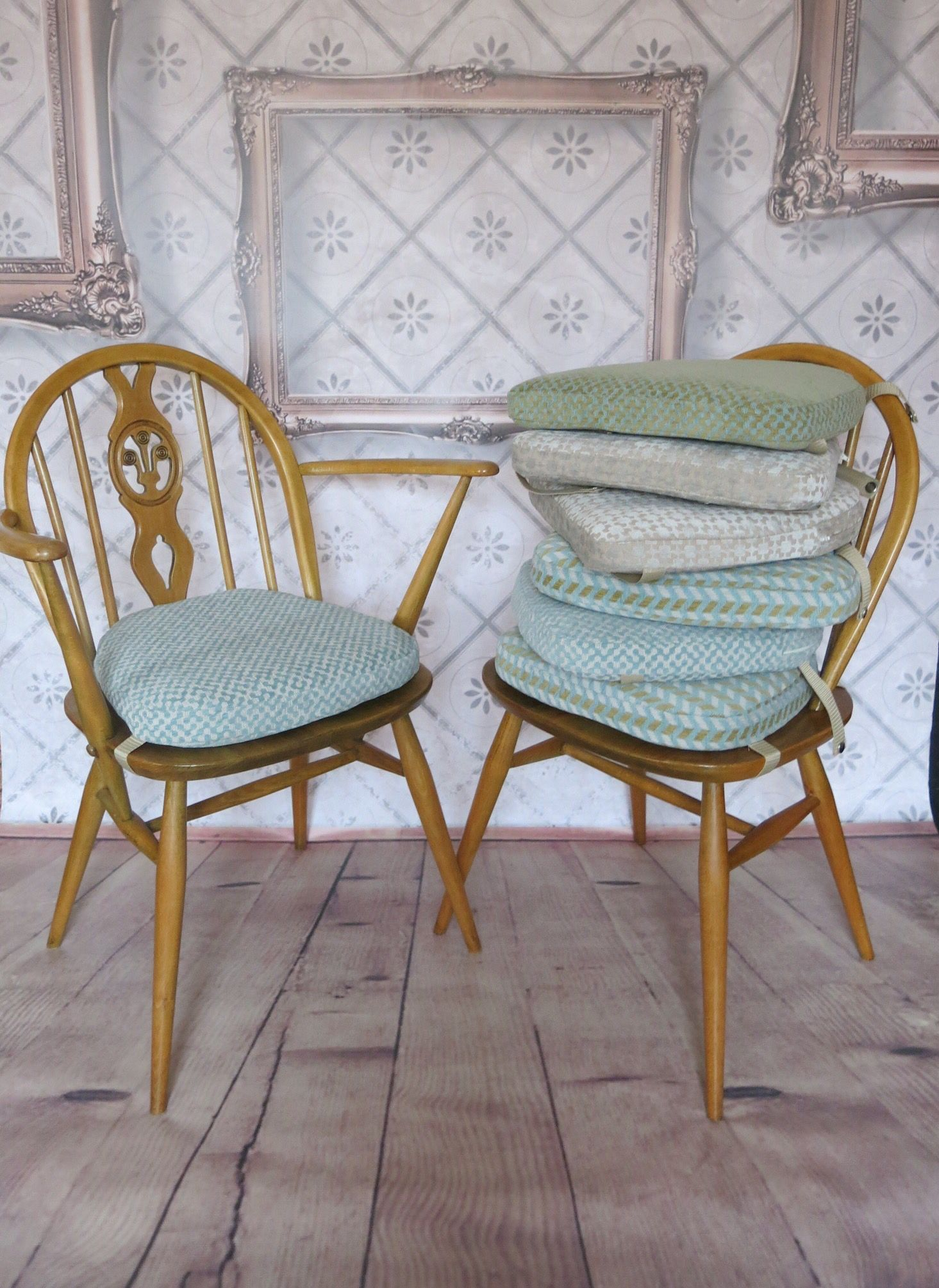 Ercol dining chair cushions. New foam, fabric, straps.. happy