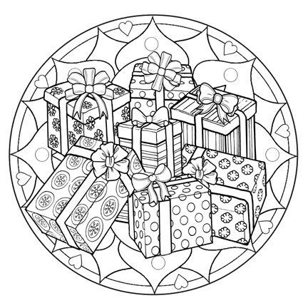 Presents Mandala Mandala Coloring Pages Coloring Pages Christmas Coloring Pages