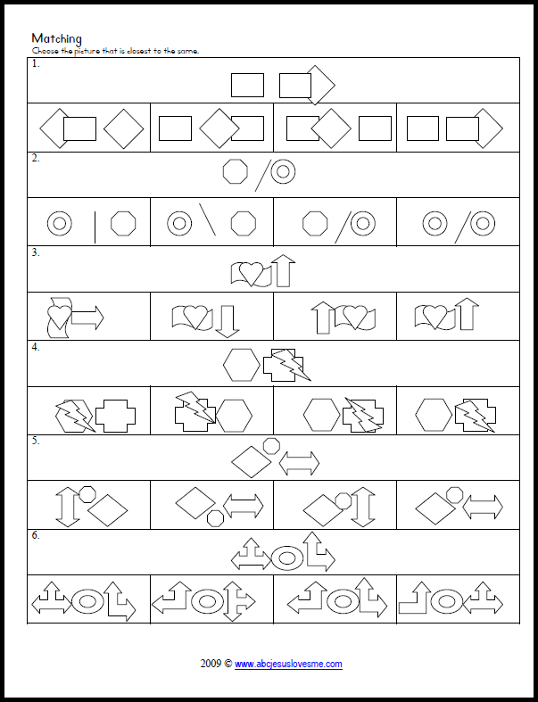 Tons of printable matching, tracking, copying, and patterning ...