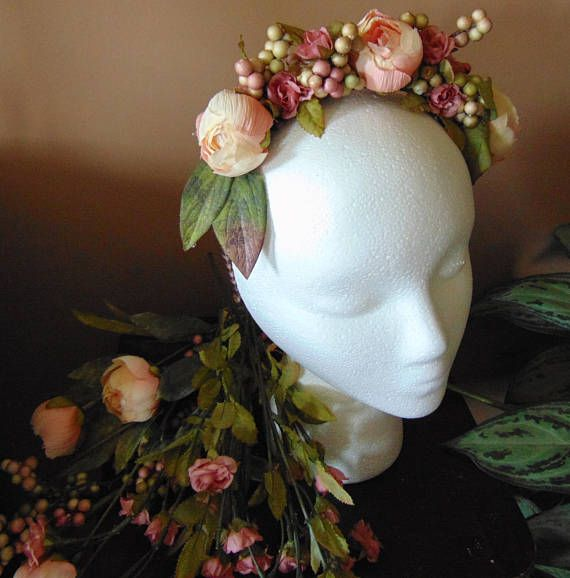 Antique Rose HeadbandFloral Full Head Crown Unique One of
