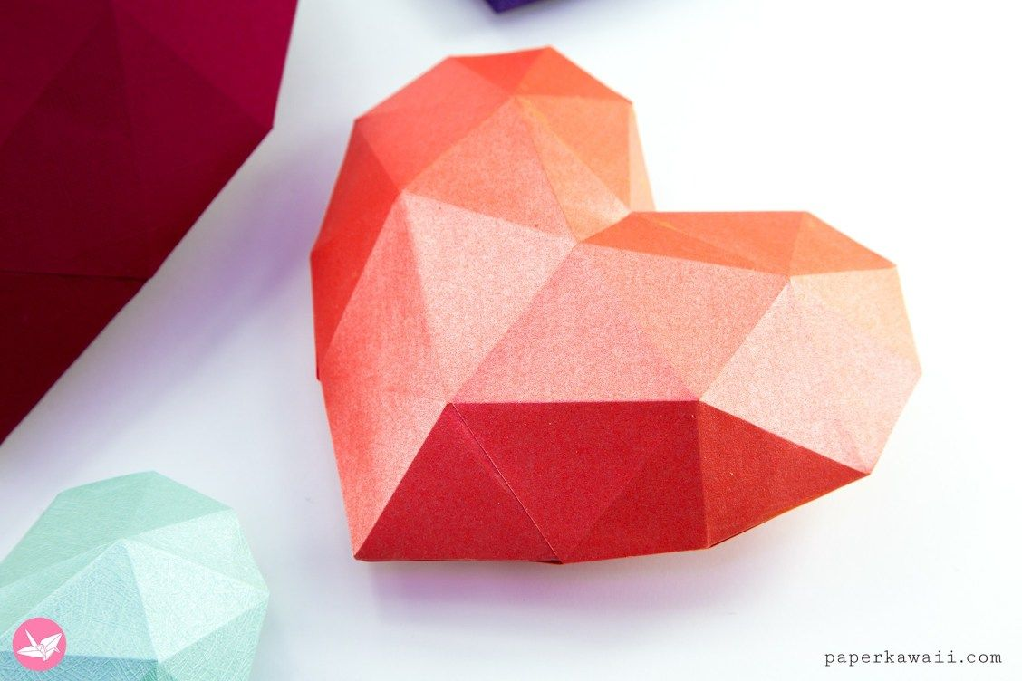 Paper Kawaii Free Origami Instructions Photo Video Tutorials Diagrams Downloads And More Paper Hearts 3d Paper Paper Heart
