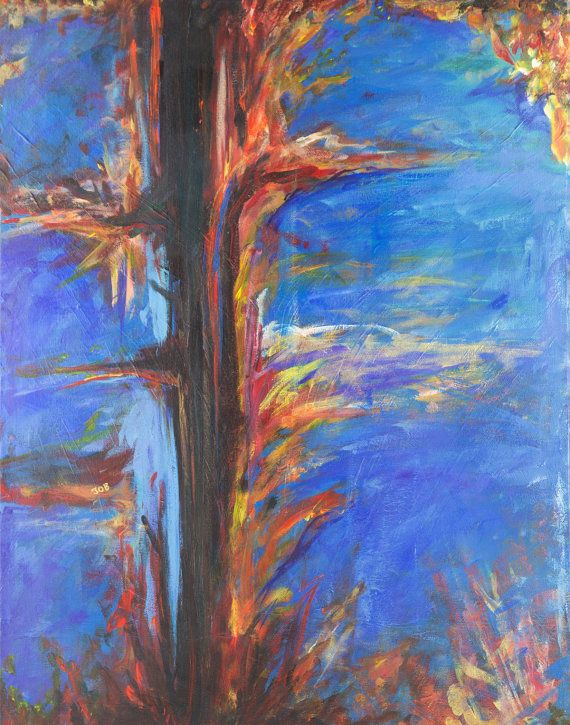 Original Abstract Modern Complementary Colors Blue Black Red Orange Yellow Gold Flame Fire Rust Acrylic Painting