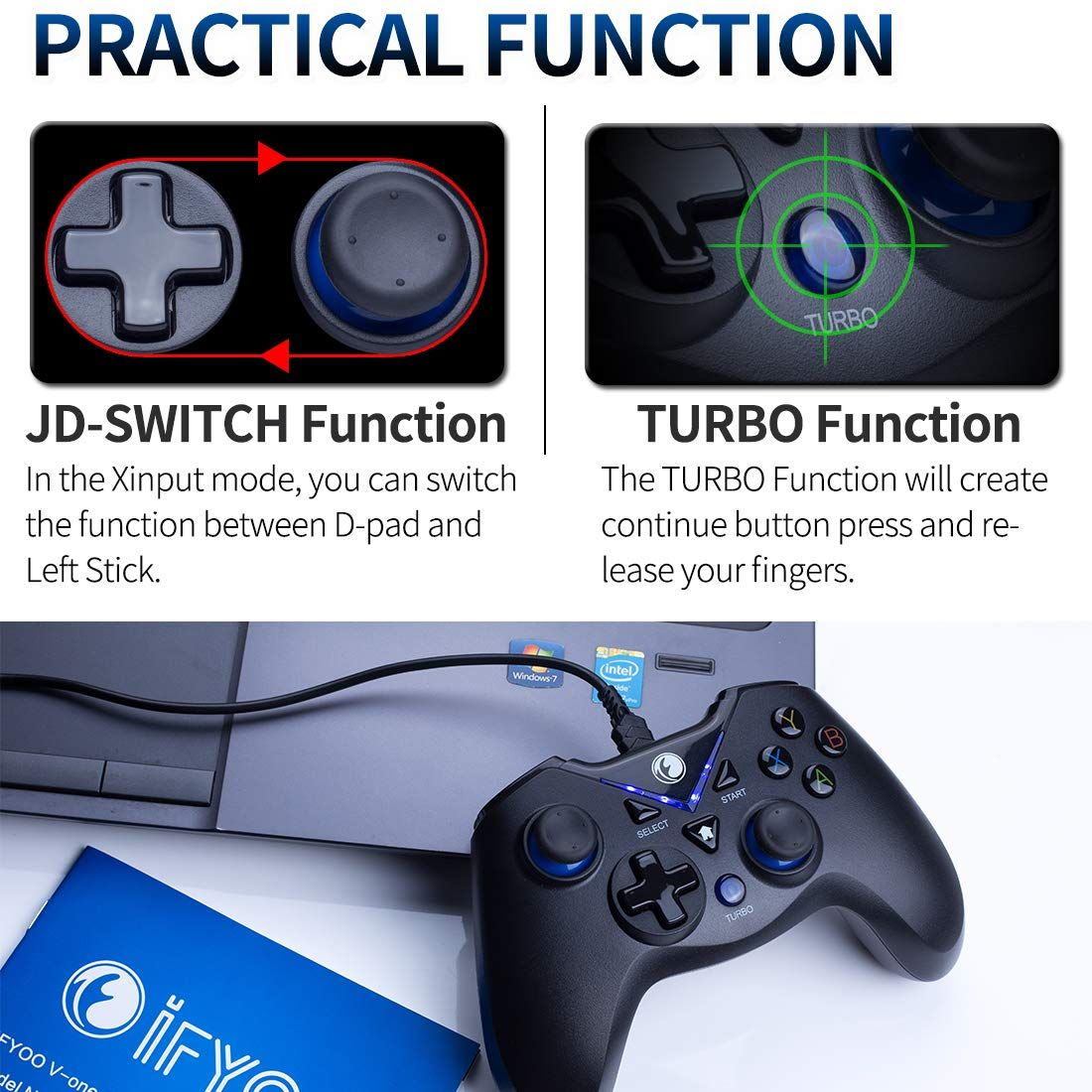 IFYOO Vone Wired USB Gaming Controller Gamepad Joystick for