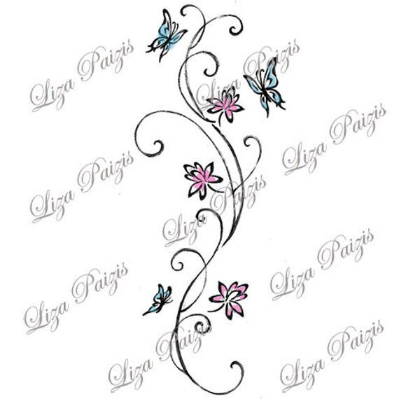 Vine Tattoo With Lotus Flowers And Butterflies With Swirls
