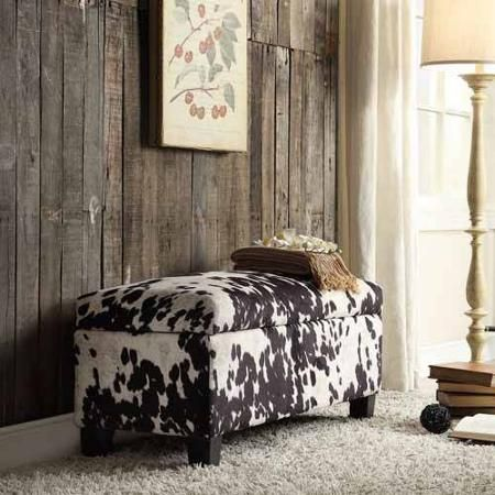 Azteca Cow Hide Print Storage Bench Black Cow Walmart Com Cowhide Furniture Fabric Storage Ottoman Cowhide Fabric