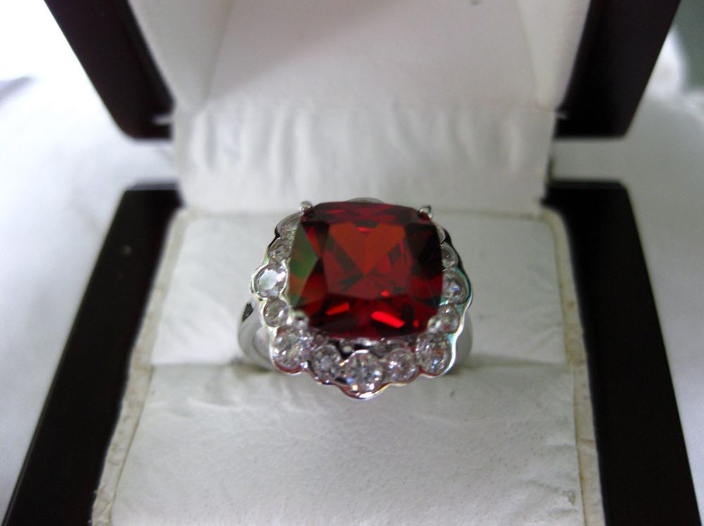 4ct Ruby Amp White Topaz Genuine 925 Solid Sterling Silver Ring Sz 6 Silver Rings White Topaz
