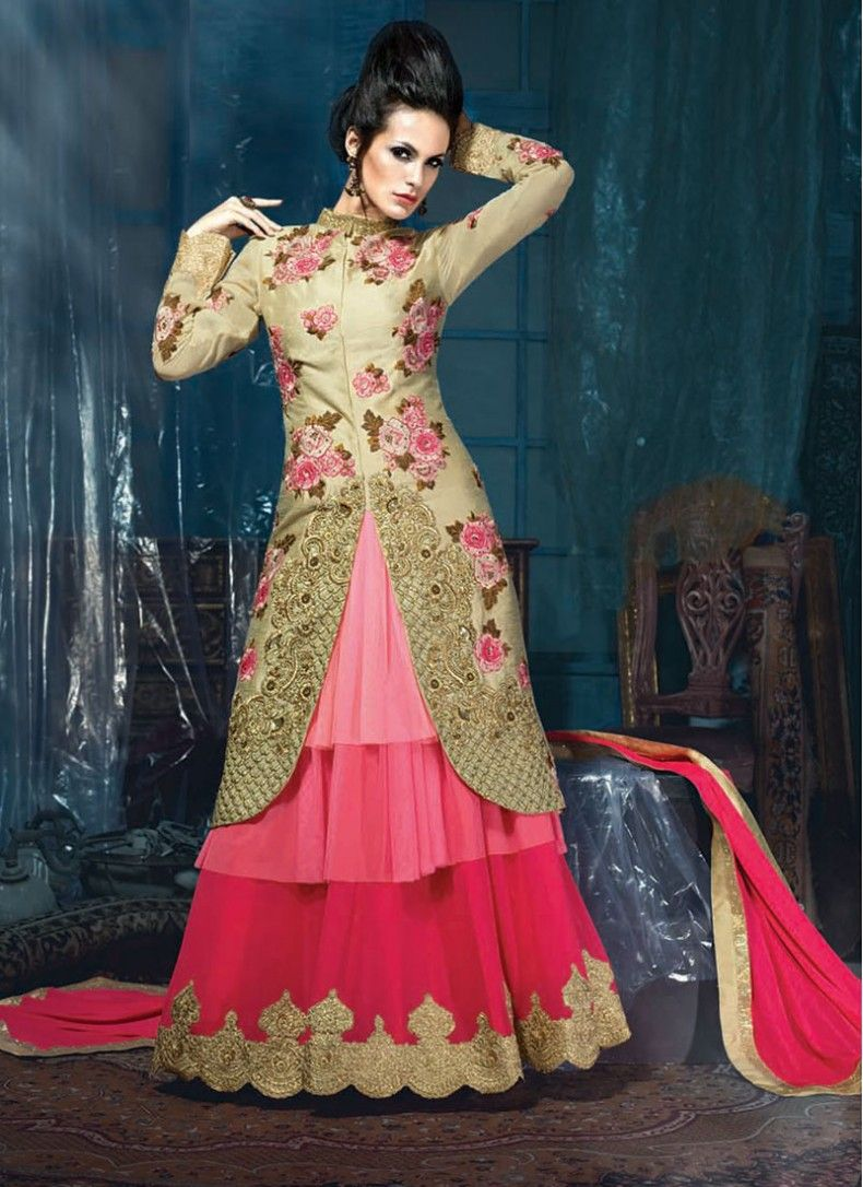Beige and hot pink georgette patch border designer anarkali salwar