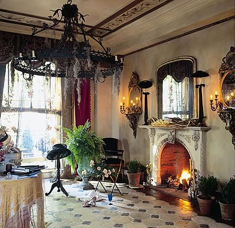 There are some many things about this room I love.  The floor, ceiling and most of all the moss covered chandelier.