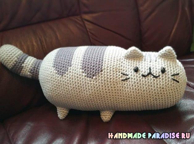 подушка игрушка кошка крючком вяжем игрушки вязание вязаные