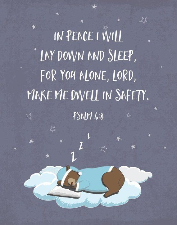 8a492a7095 INSTANT DOWNLOAD In peace I will lay down and sleep Psalm 4 8 Nursery Decor  Bible Verse Print Nurser