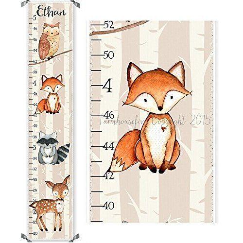 Woodland Fox Raccoon Owl and Deer Canvas Boys Growth Chart Baby - boys growth chart