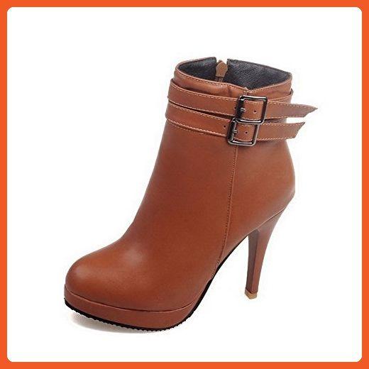 Women's Zipper High-Heels PU Solid Low Top Boots Brown 42