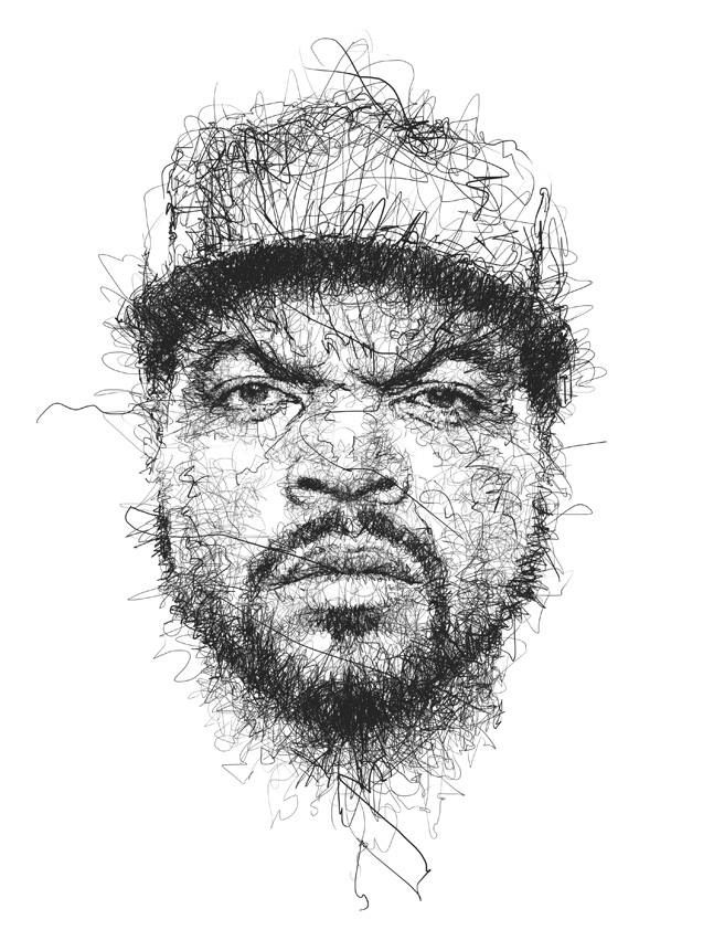 Scribble Pen Drawing : Drawing in pencil scribbles ice cube by vince low