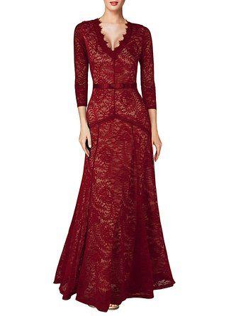 Miusol Women's Floral Lace 2/3 Sleeves Long Bridesmaid Maxi Dress at Amazon…