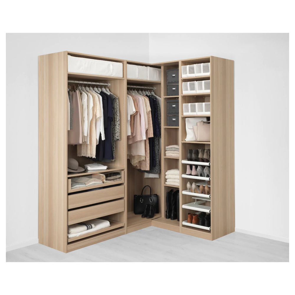 pax armoire d angle effet chene
