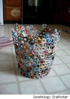 Recycled magazine wastebasket recycle crafts for Cool recycled stuff